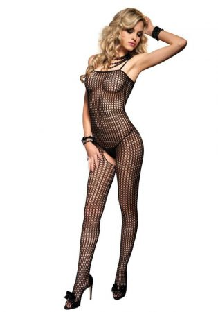 728300 SEAMLESS CROCHET BODYSTOCKING O/S BLK
