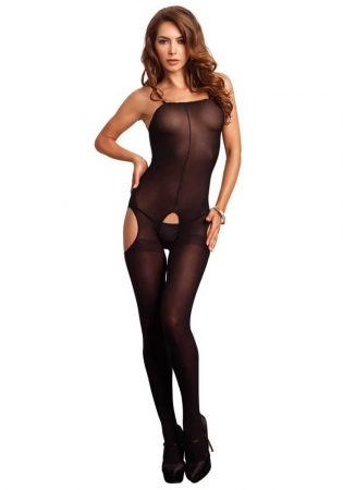728195 OPAQUE SUSPENDER BODYSTOCKING O/S BLK