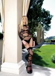 728471 2PC. OPAQUE SHEER CRISS CROSS BODY SUIT AND MATCHING O/S BLK