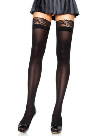 Nylon Stocking With Lace Top - BLACK - O/S - HOSIERY