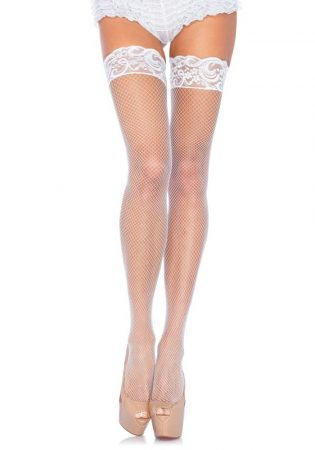 Stay Up Fishnet Thigh Highs - WHITE - O/S - HOSIERY