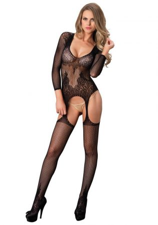 Floral suspender bodystocking black O/S